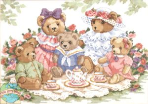 3733 Teddy Bear Tea Party Floral