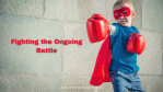 SuperHero Kid wearing boxing gloves